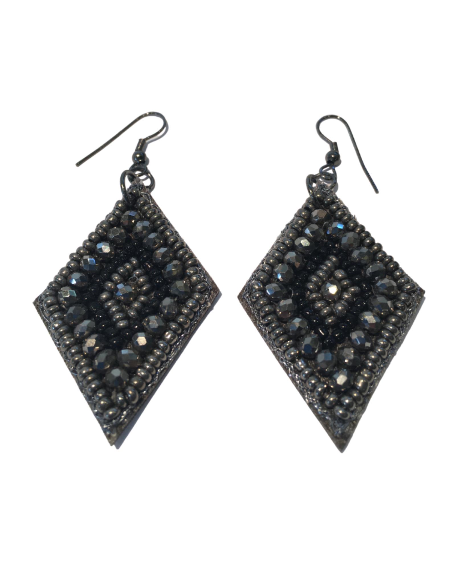 Ten Thousand Villages Black Diamond Shaped Earrings