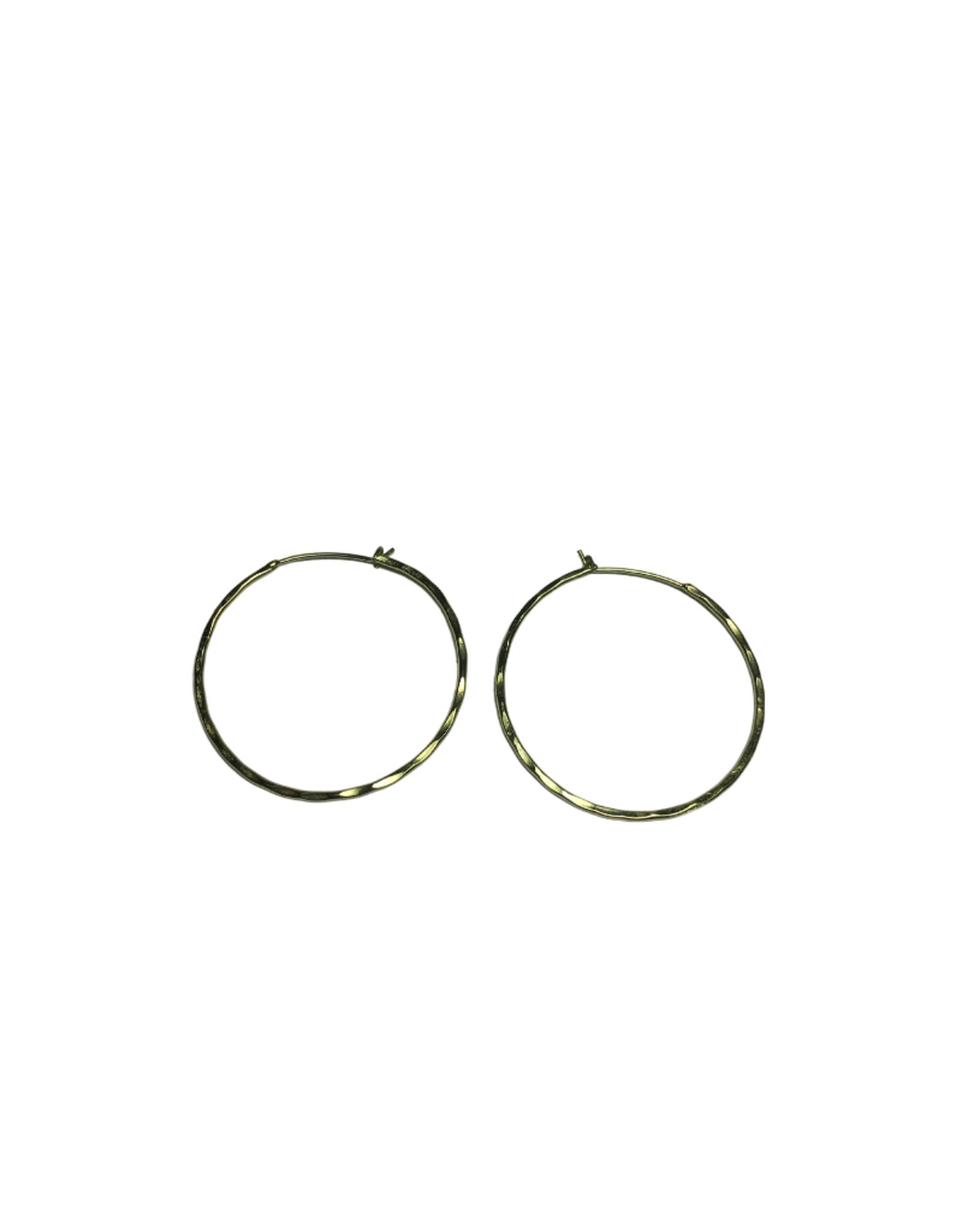Ten Thousand Villages Hammered Brass Hoop Earrings
