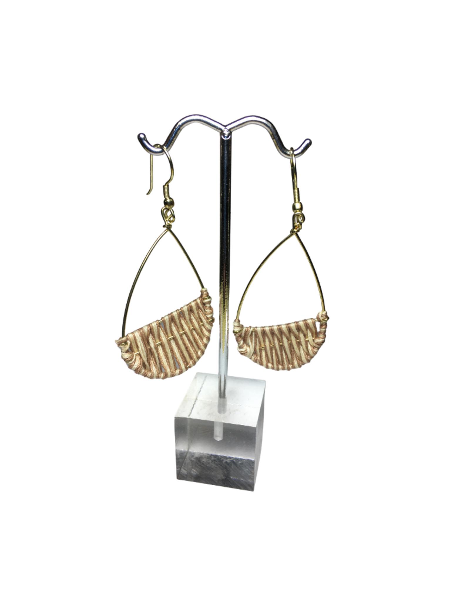 Ten Thousand Villages Gold Wire Teardrop Earrings