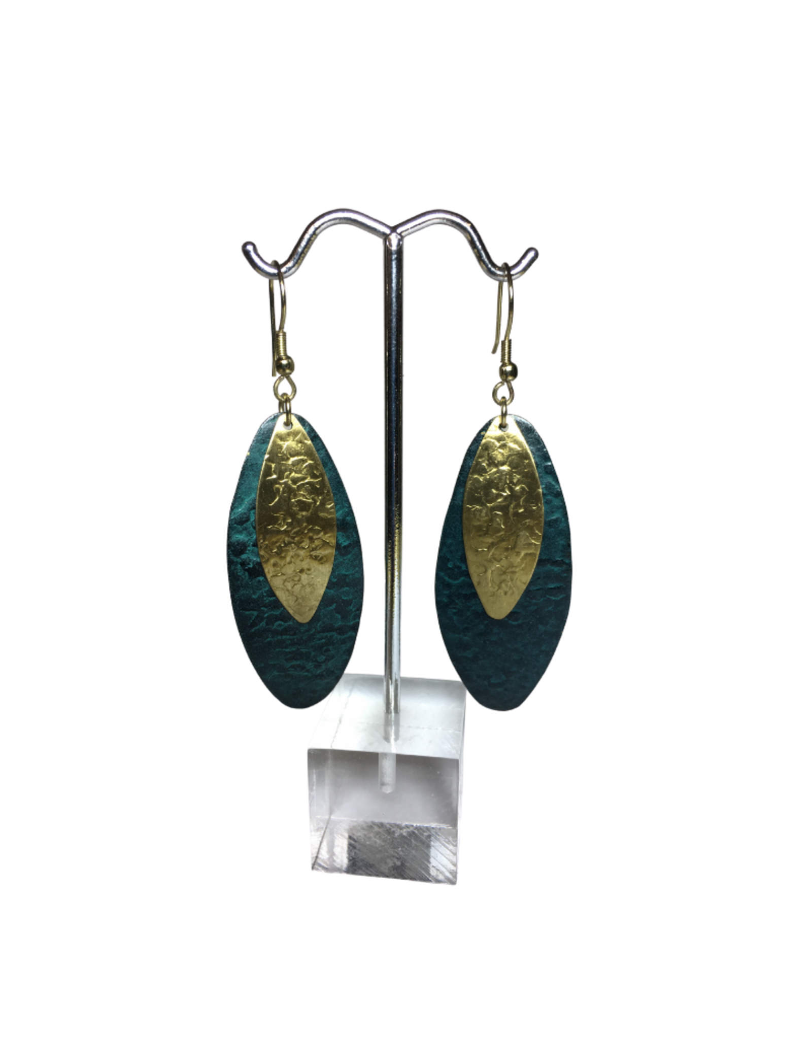 Ten Thousand Villages Teal Oval Earrings