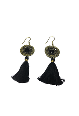 Ten Thousand Villages Black Tassel Earrings