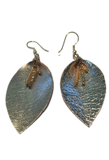 Ten Thousand Villages Leather Leaf Earrings