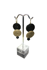 Ten Thousand Villages Black and Brown Disk Earrings