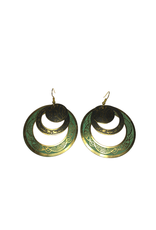 Ten Thousand Villages Etched Triple Loop Earrings