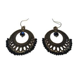 Ten Thousand Villages Earring Rd Blk Glass/Antique Copper Col Bead 3cm Diam 5cm Drop - India