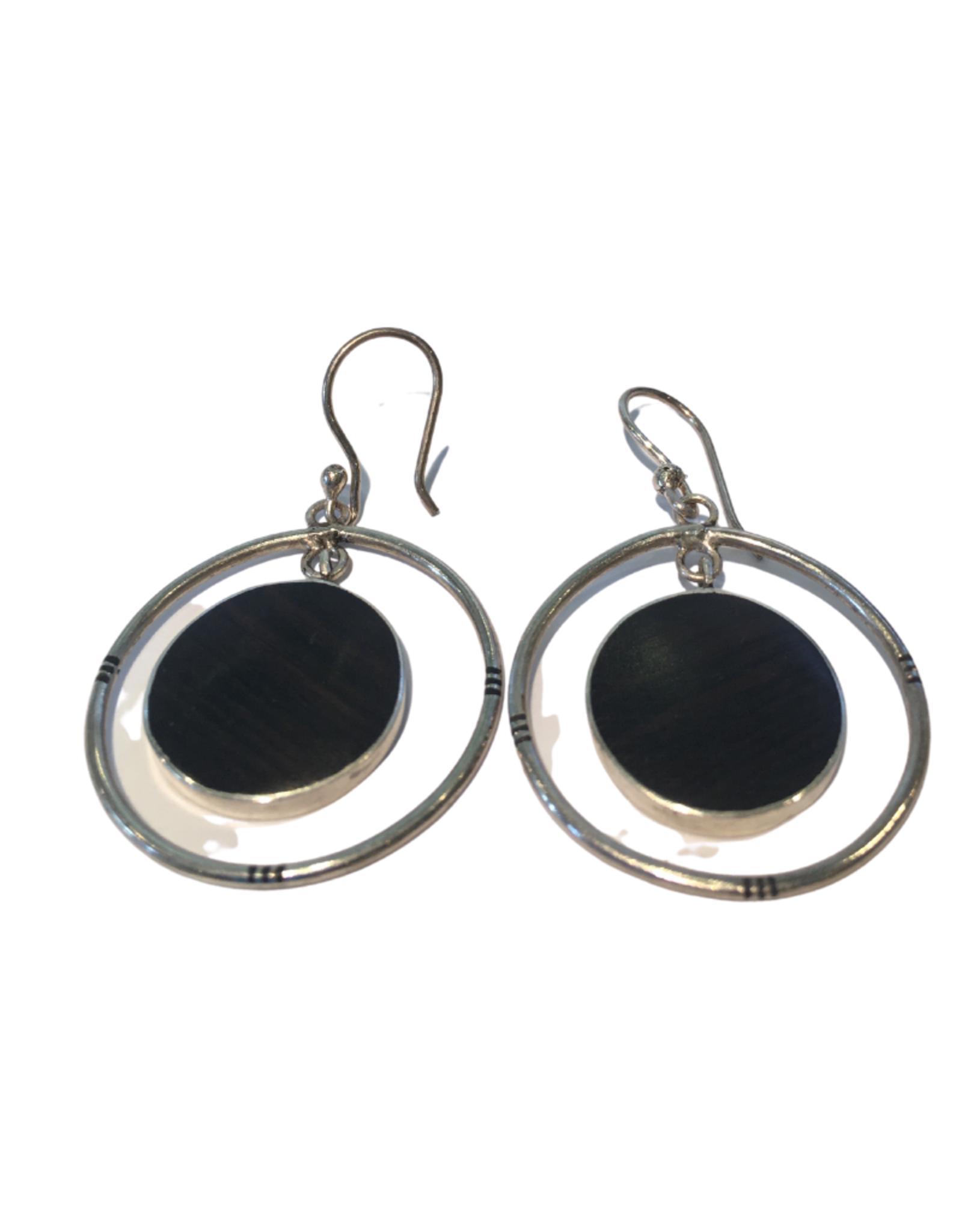 Ten Thousand Villages Earring Circles Silver w/Ebony