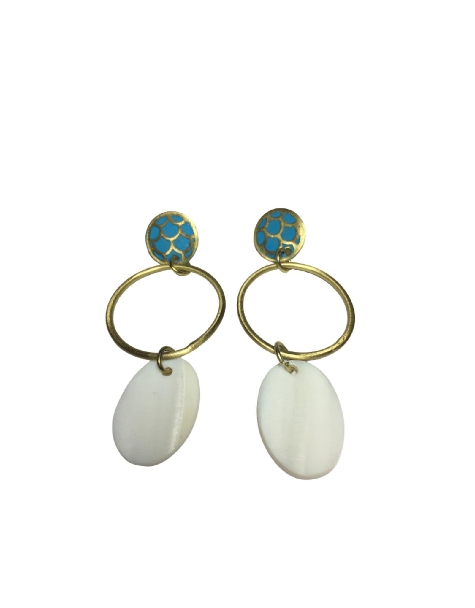 Global Crafts Mother of Pearl Teal Earrings