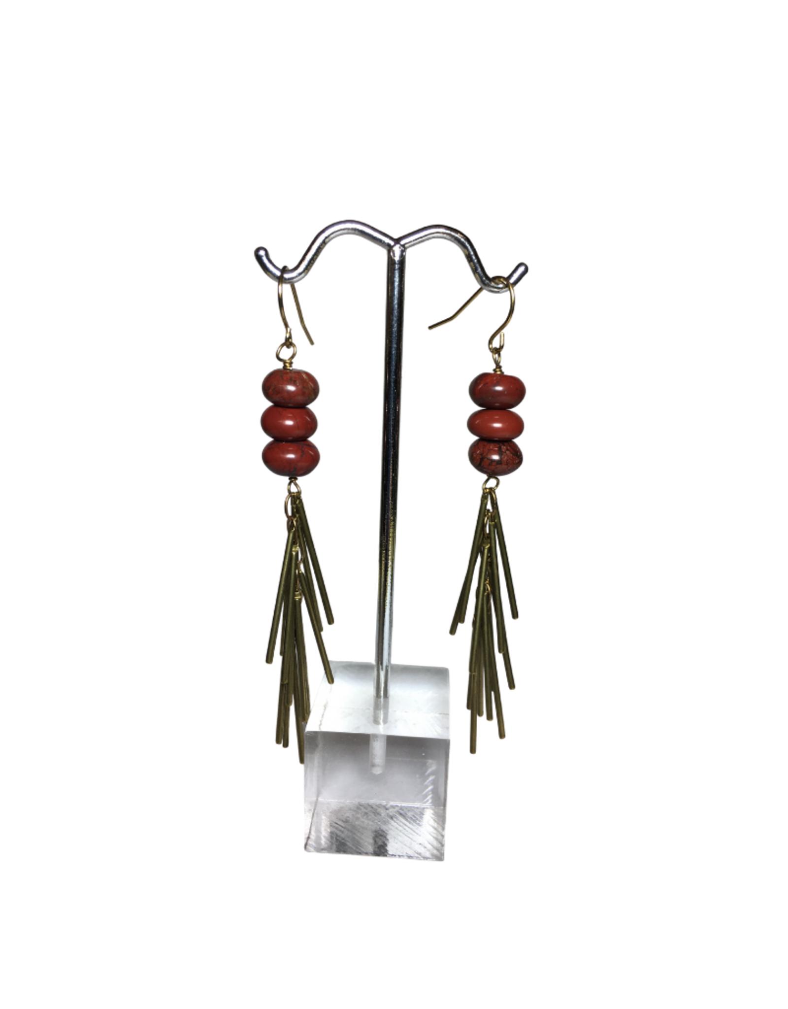 Global Crafts Red Jasper Fringe Earrings