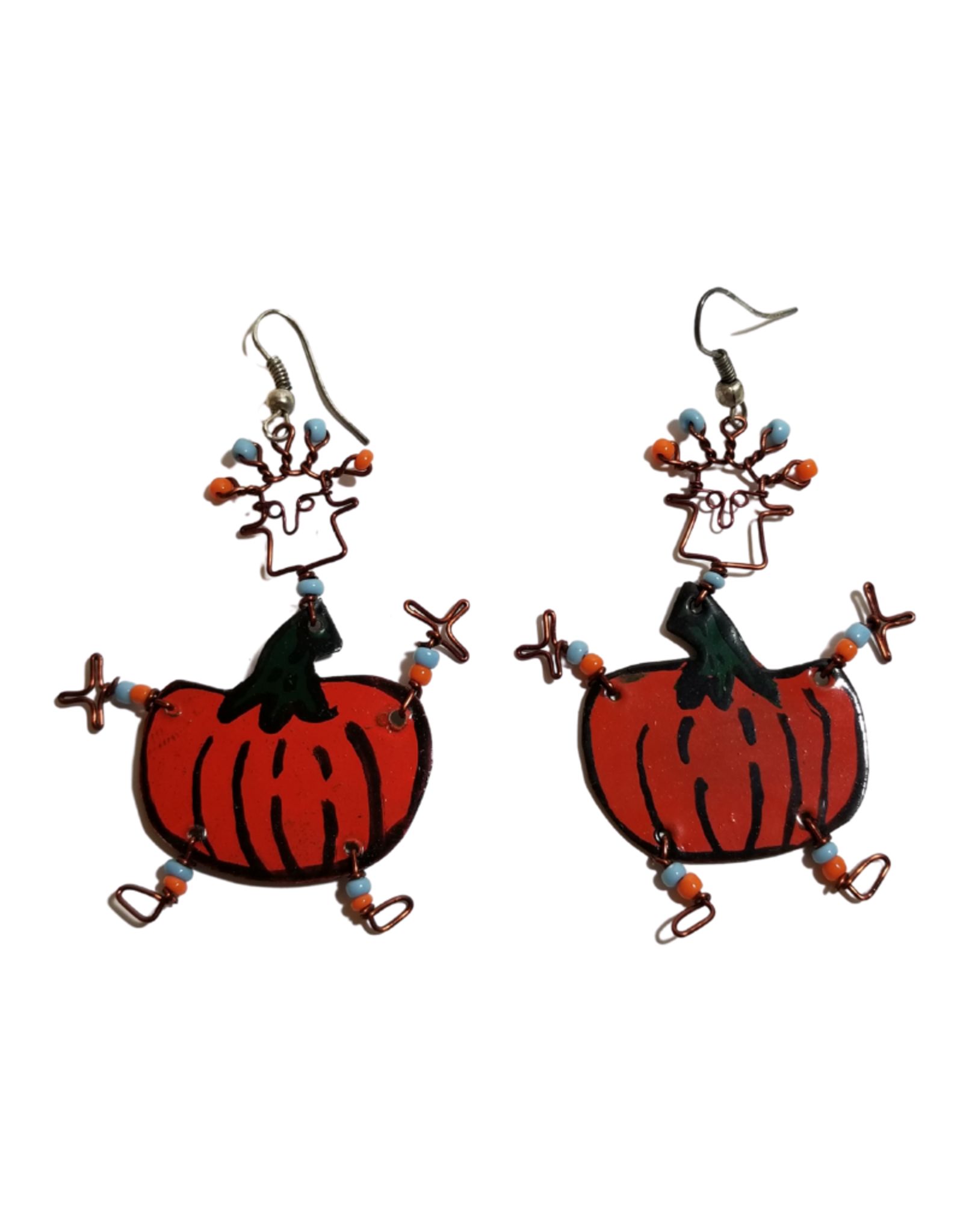 Global Crafts Dancing Girl Pumpkin Tin Earrings