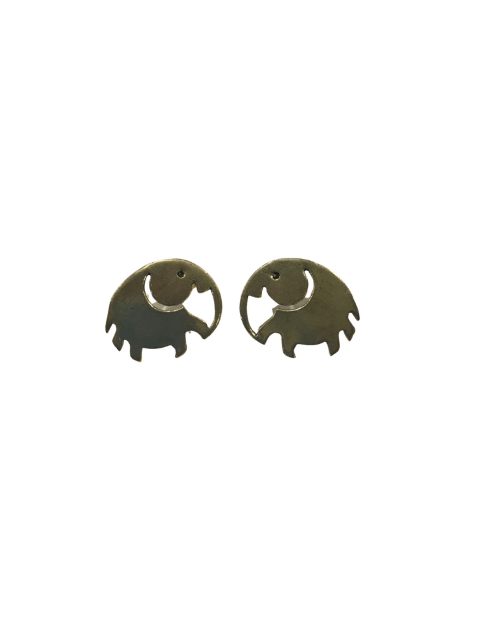 Global Crafts Elephant Brass Stud Earrings