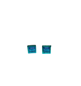 Global Crafts Square Glass Stud Earrings Turquoise