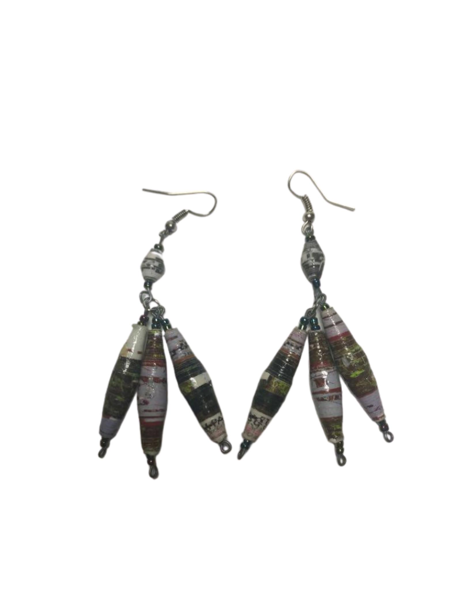 Takataka Coiled Paper Earrings (Strands of Three)