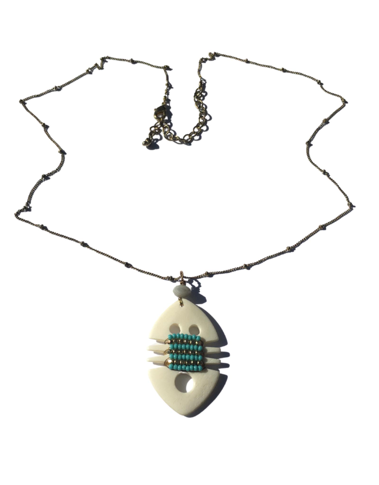 Ten Thousand Villages Patterned Bone Necklace