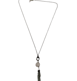 Ten Thousand Villages Necklace Long Bead Chain and Tassel
