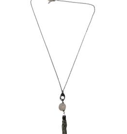 Ten Thousand Villages Pink Stone Tassel Necklace