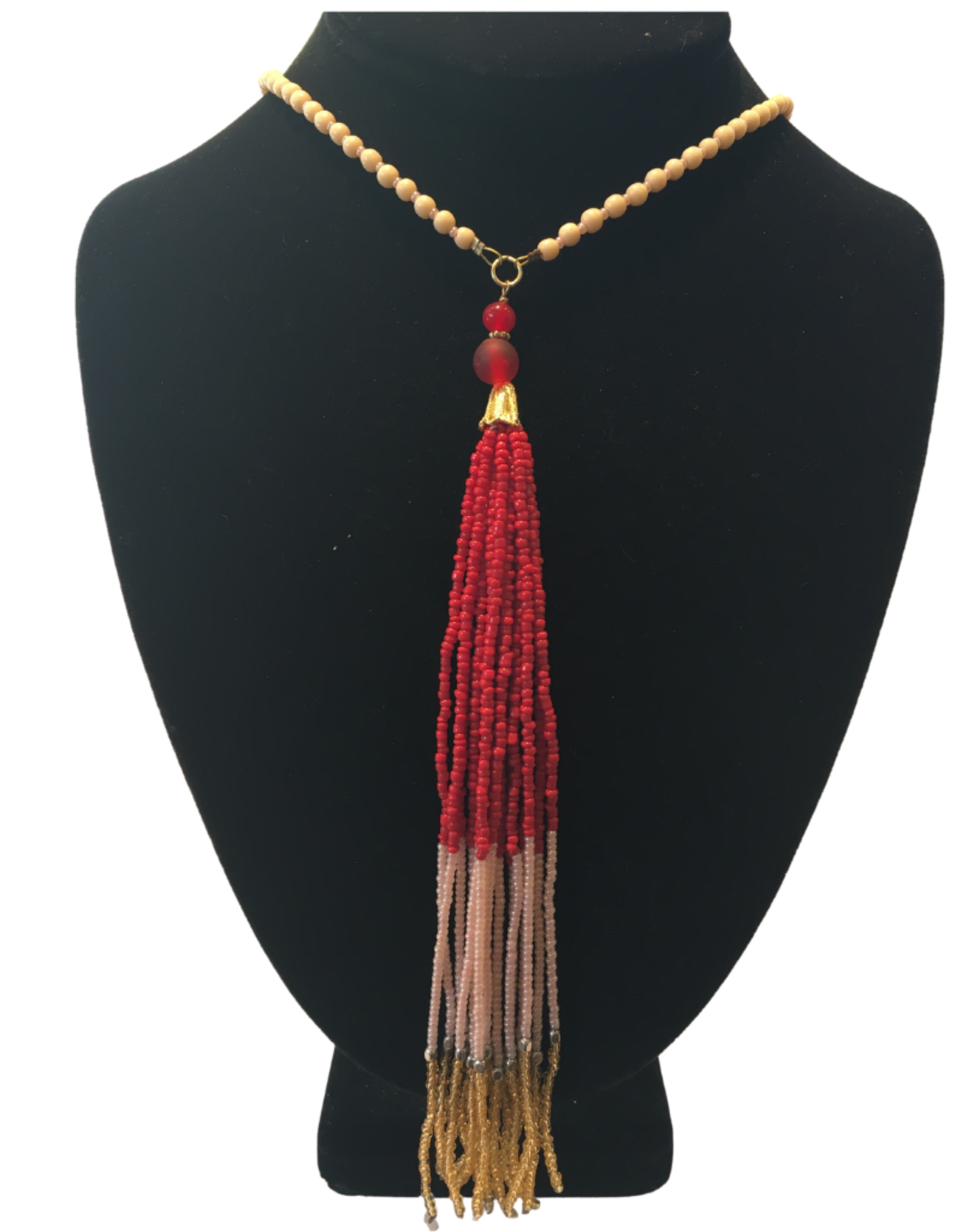 Ten Thousand Villages Red Tassel Necklace