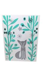 Card Fox Grey Background Teal
