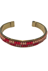 Coral & Red Beaded Cuff