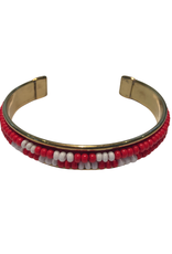 Red & White Beaded Cuff