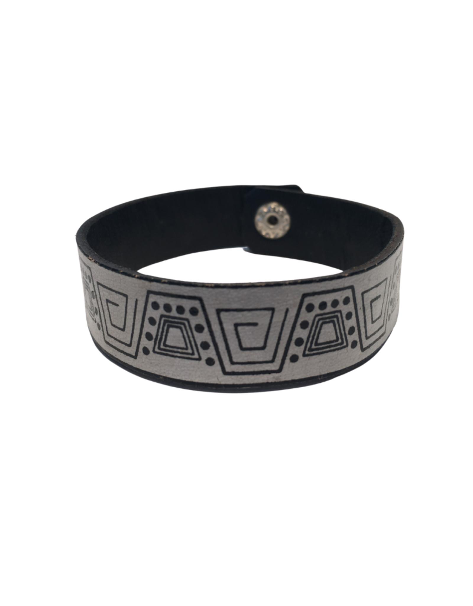 Aztec Motif Leather Bracelet