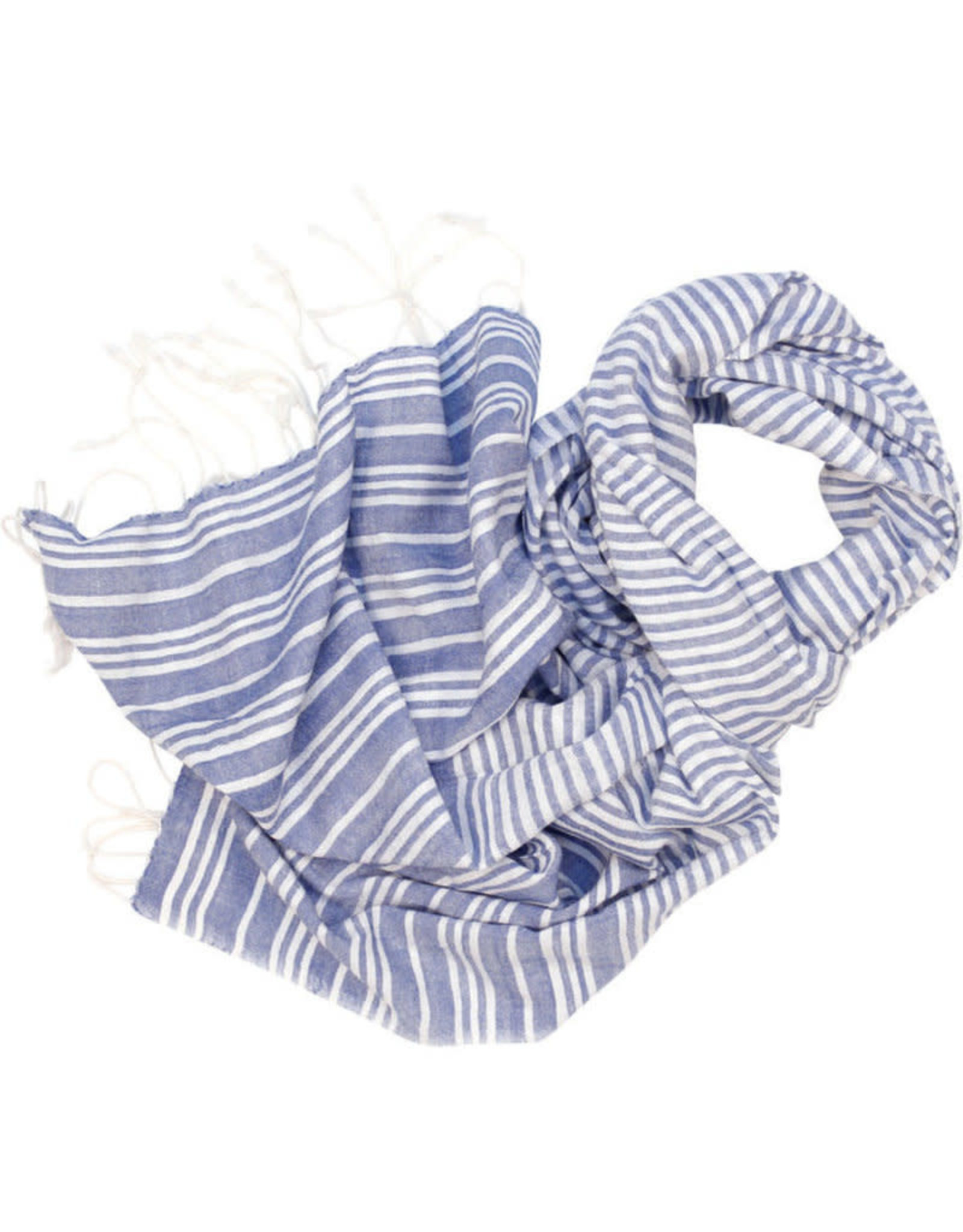 Craft Resource Centre Blue & White Lines Scarf - India