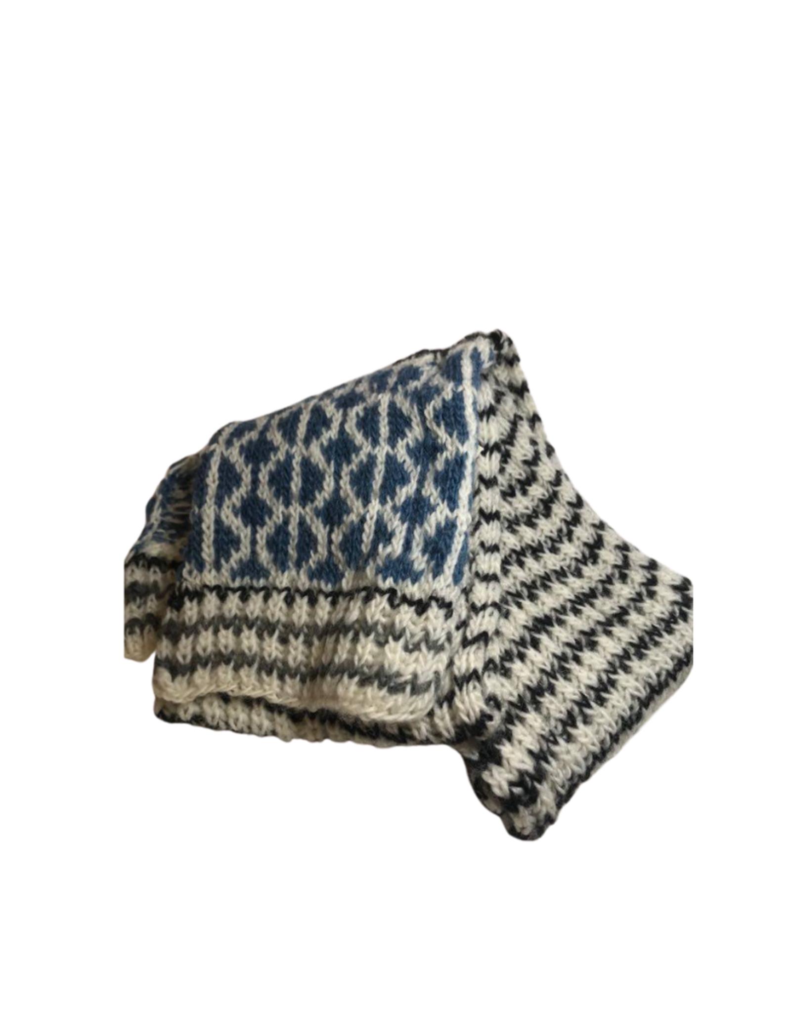 Scarf Geometric blu/wht/blk Wool