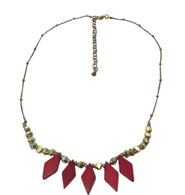 Ten Thousand Villages Ruby Bone and Brass Necklace