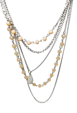 Ten Thousand Villages Silver Necklace with Pink Stone