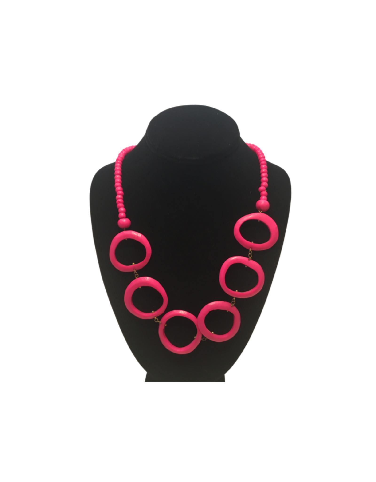 Ten Thousand Villages Pink Natural Bone Necklace