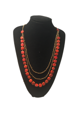 Ten Thousand Villages Orange and Gold Tagua Necklace
