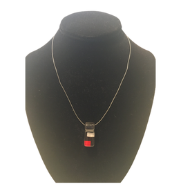 Ten Thousand Villages Red and Black Glass Pendant