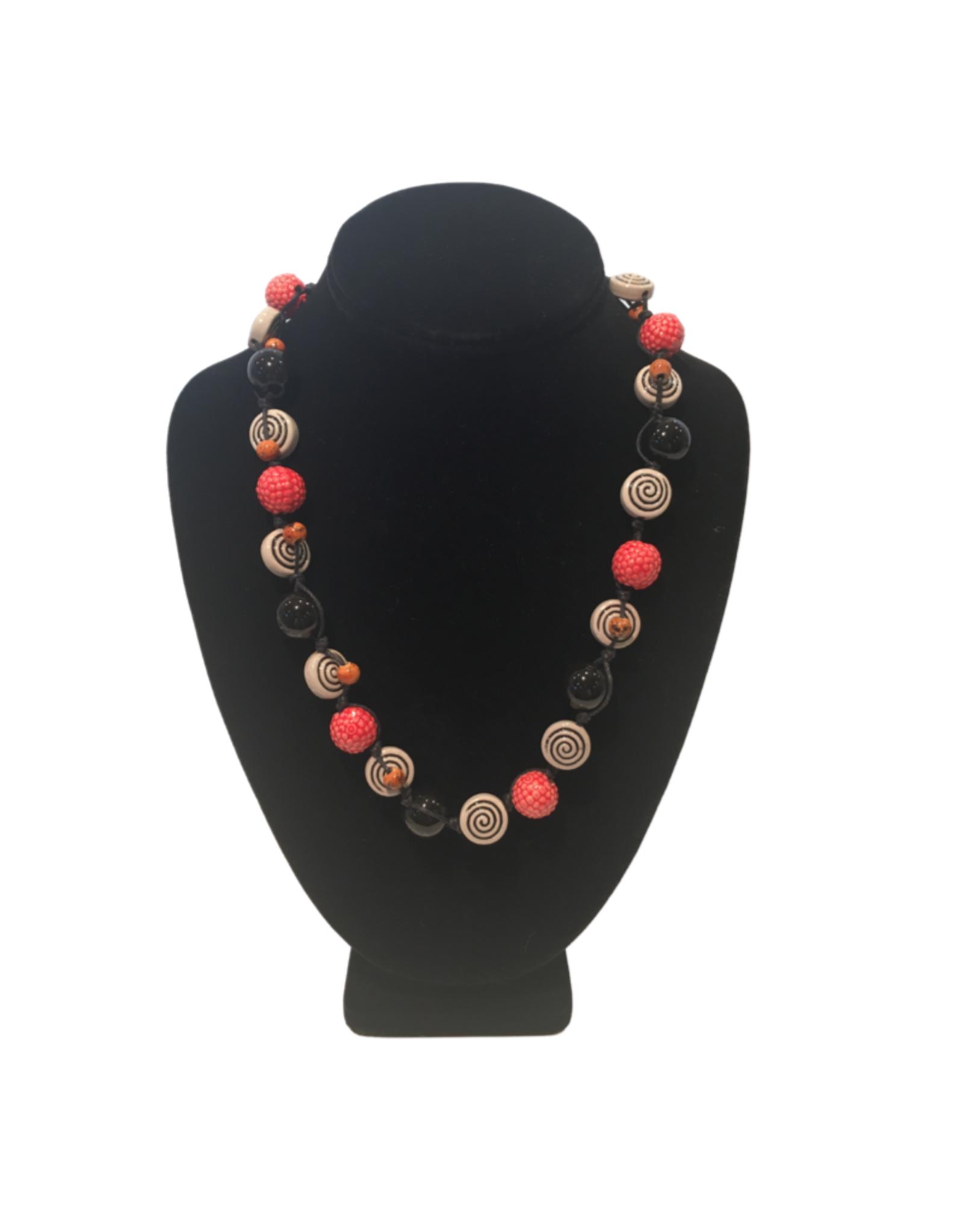 Ten Thousand Villages Ceramic Spirals Necklace