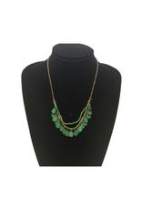 Ten Thousand Villages Green Bone Droplet Necklace