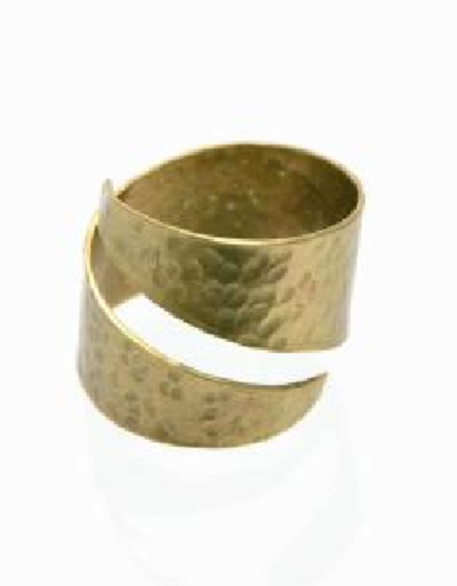 Hammered Brass Wrap Ring