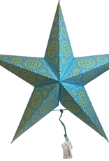 Ten Thousand Villages Turquoise Paper Star Ornament