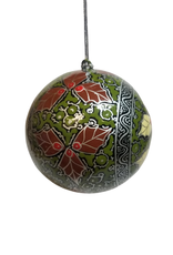 Global Crafts Ornament, Handpainted Silver Chinar Leaves