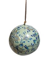 Global Crafts Ornament, Handpainted Blue Floral