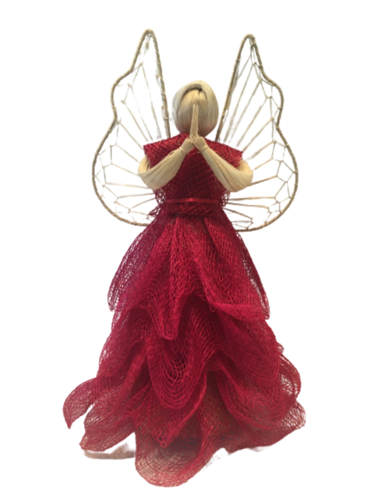 Red Abaca Sinamay Angel (Medium)