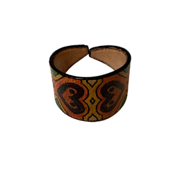 Leather Ring - Hand Painted Hearts - Indonesia