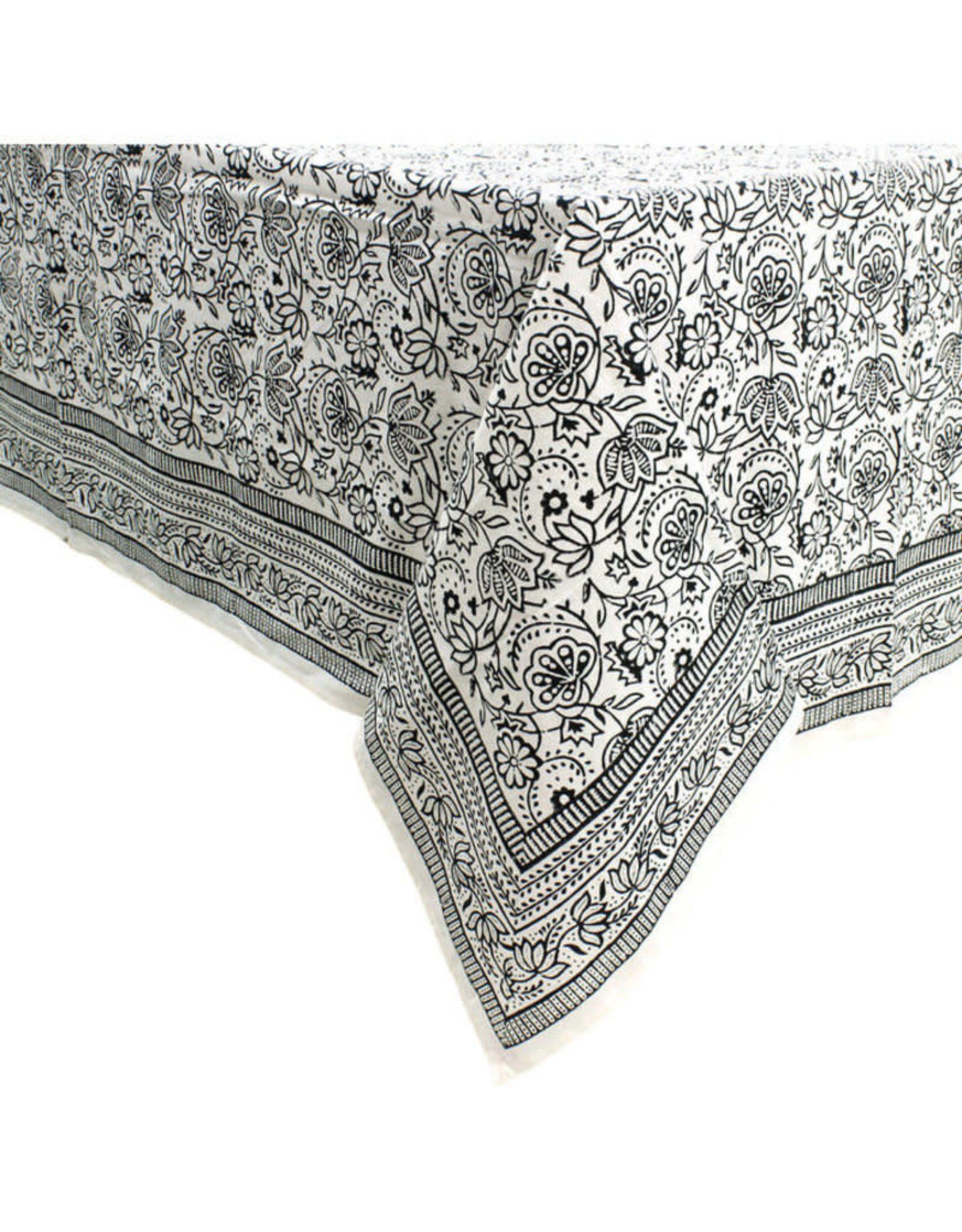 Asha Handicrafts Monochrome Block Print Tablecloth