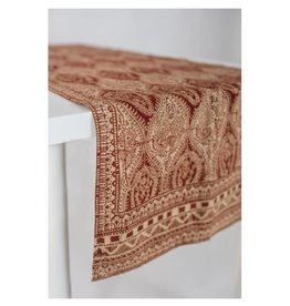 "Asha Handicrafts Table Runner, Red/Beige Paisley, 190cm x 77cm / 63"" x 30"""