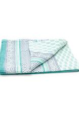 Asha Handicrafts Turquoise Chevron Tablecloth