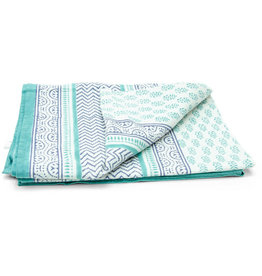 Asha Handicrafts Turquoise Chevron Tablecloth