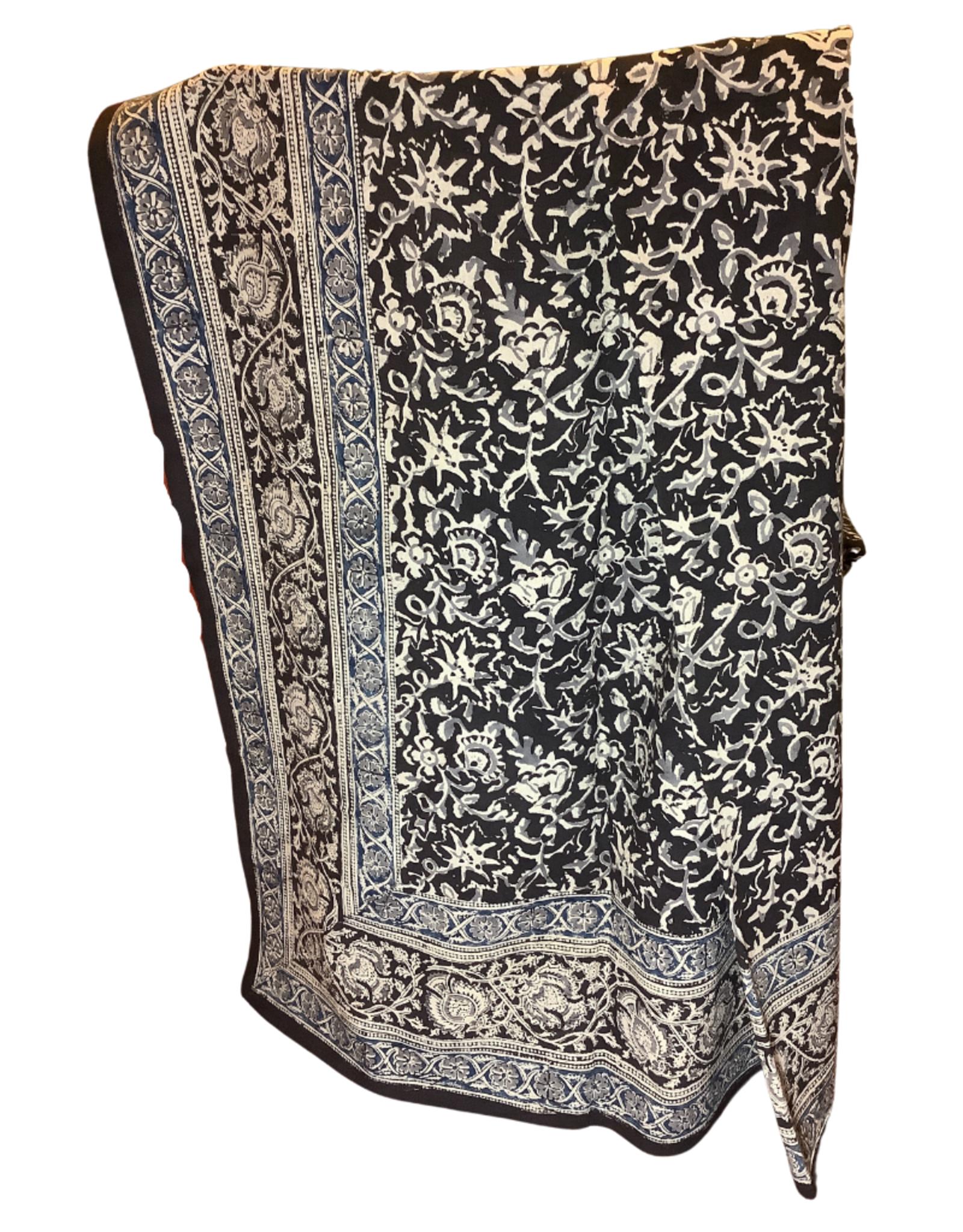 Tablecloth Floral Vines Cotton blk/nat/blue