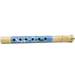 Ten Thousand Villages Blue Floral Bamboo Flute - Indonesia