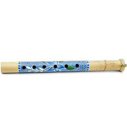 Ten Thousand Villages Blue Floral Bamboo Flute