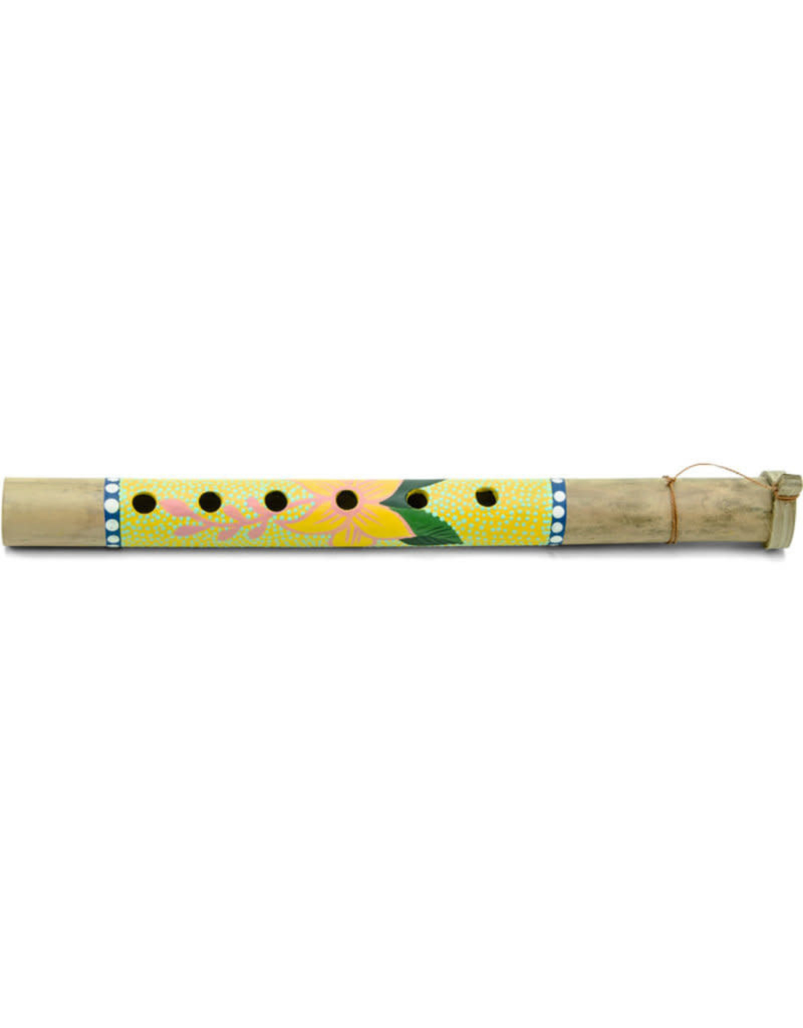 Ten Thousand Villages Yellow Floral Bamboo Flute