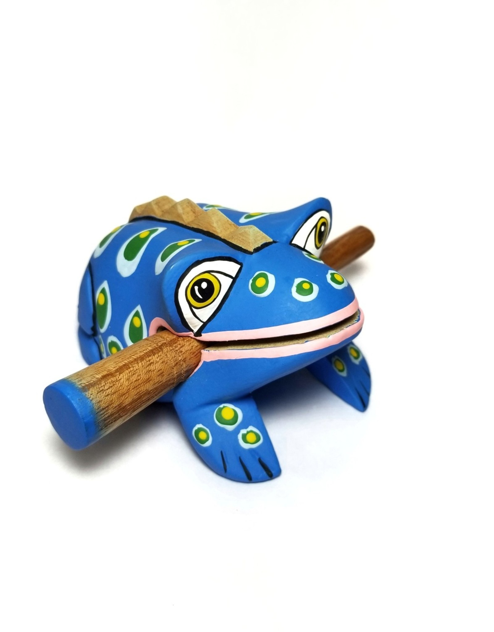 Ten Thousand Villages Blue Spotted Frog Instrument