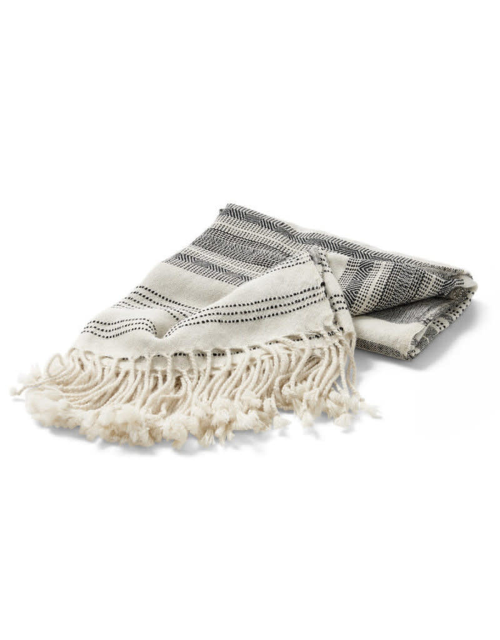 Ten Thousand Villages Throw Stripe wht/blk Alpaca Wool