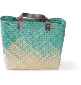 Mai Vietnamese Handicrafts Teal Seagrass Bag
